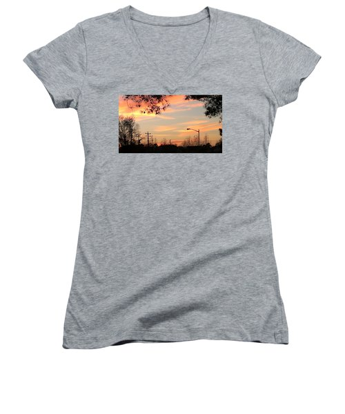 Women's V-Neck T-Shirt featuring the photograph Fire Sky by Thomasina Durkay