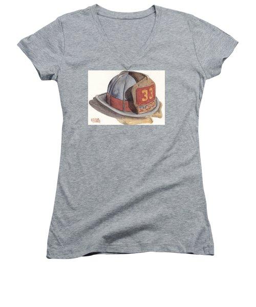 Firefighter Helmet With Melted Visor Women's V-Neck T-Shirt