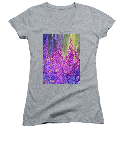 Women's V-Neck T-Shirt (Junior Cut) featuring the mixed media Fireweed Medley by Teresa Ascone