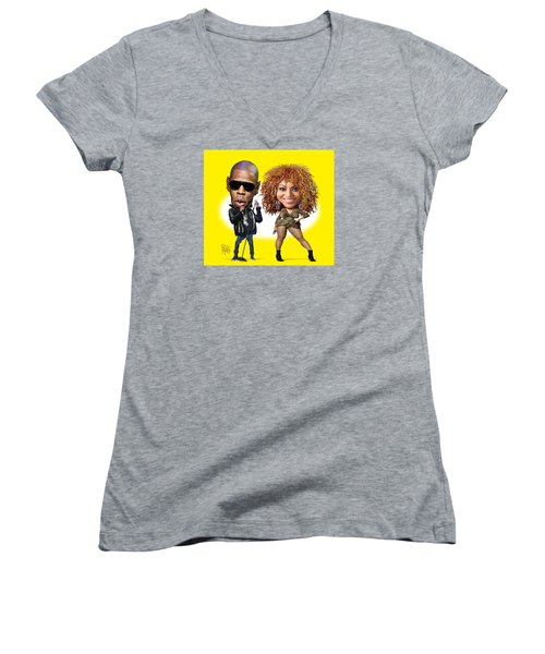 Women's V-Neck T-Shirt (Junior Cut) featuring the digital art First Couple by Scott Ross