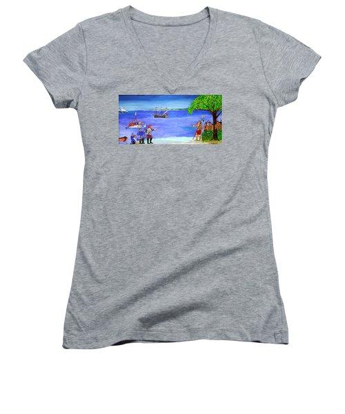 First Encounter Women's V-Neck T-Shirt (Junior Cut) by Bill Hubbard