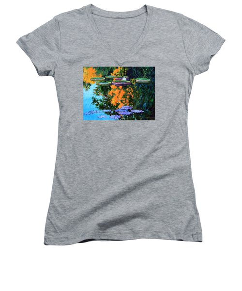 First Signs Of Fall Women's V-Neck T-Shirt (Junior Cut) by John Lautermilch