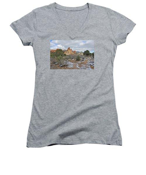 Women's V-Neck T-Shirt (Junior Cut) featuring the photograph First Snow At Garden Of The Gods by Diane Alexander