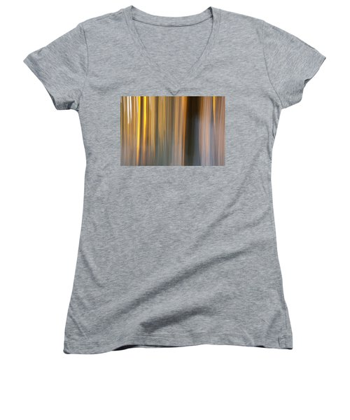 Women's V-Neck T-Shirt (Junior Cut) featuring the photograph First Snow In Sunset by Davorin Mance