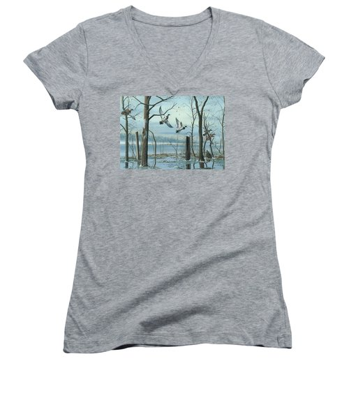 Women's V-Neck T-Shirt (Junior Cut) featuring the painting First Snow by Mike Brown