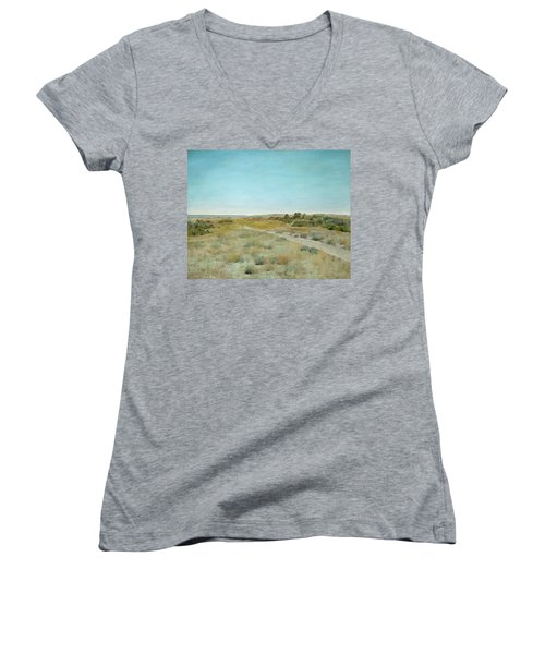 First Touch Of Autumn Women's V-Neck T-Shirt (Junior Cut) by William Merritt Chase
