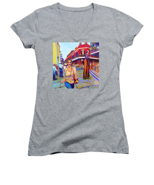 First Trip To New Orleans Women's V-Neck T-Shirt (Junior Cut) by Jeanette Jarmon
