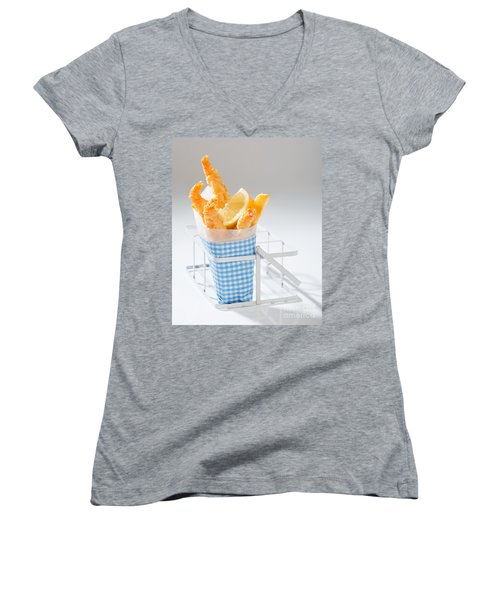 Fish And Chips Women's V-Neck T-Shirt (Junior Cut) by Amanda Elwell