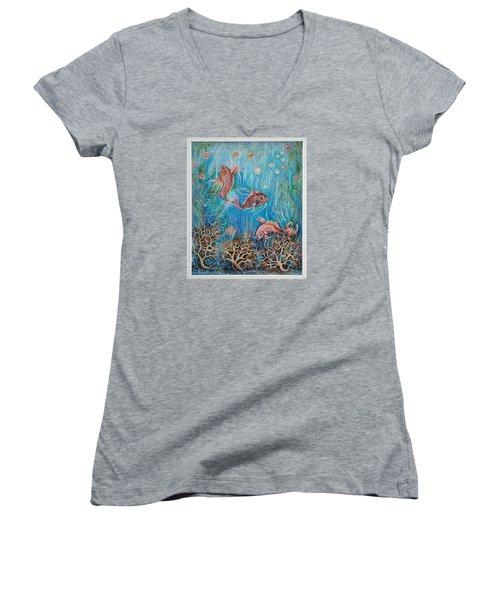 Fish In A Pond Women's V-Neck T-Shirt (Junior Cut) by Yolanda Rodriguez