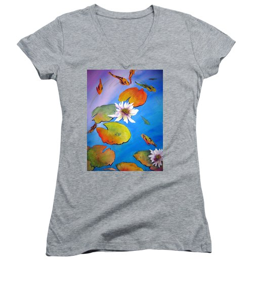 Women's V-Neck T-Shirt (Junior Cut) featuring the painting Fish Pond I by Lil Taylor