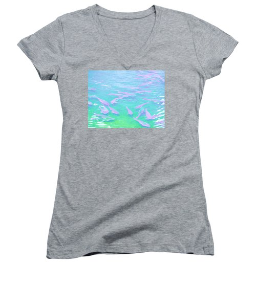Women's V-Neck T-Shirt (Junior Cut) featuring the photograph Fish by Rachel Mirror