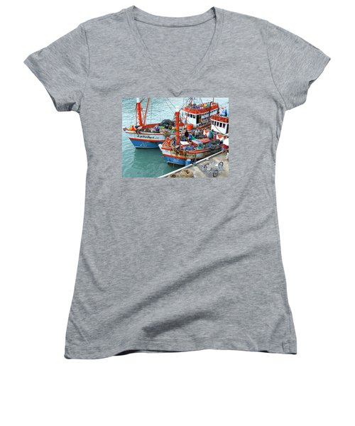Women's V-Neck T-Shirt (Junior Cut) featuring the photograph Fisherman by Andrea Anderegg