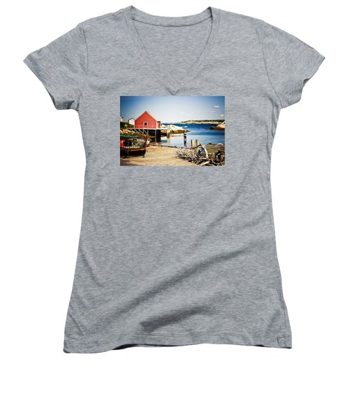 Women's V-Neck T-Shirt (Junior Cut) featuring the photograph Fisherman's Cove by Sara Frank