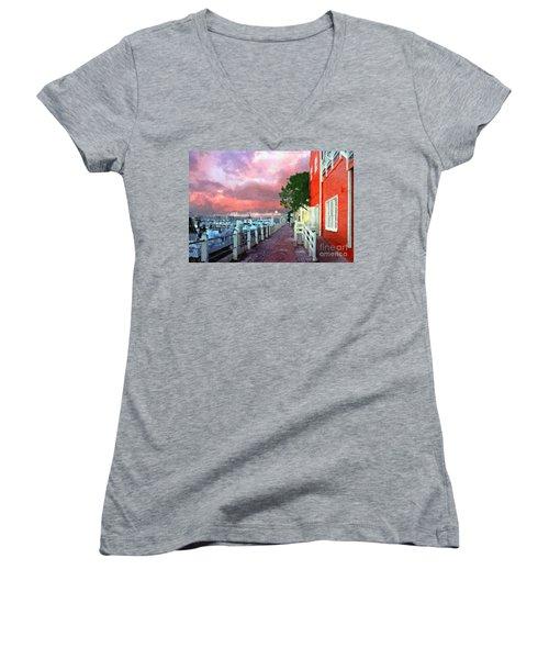 Women's V-Neck T-Shirt (Junior Cut) featuring the photograph Fisherman's Village Marina Del Mar Ca by David Zanzinger