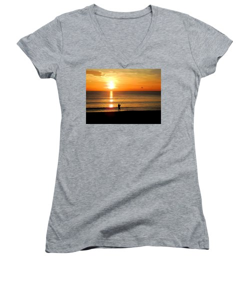 Fishing At Sunrise Women's V-Neck (Athletic Fit)
