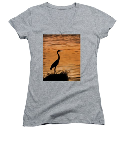 Fishing At Sunset Women's V-Neck (Athletic Fit)