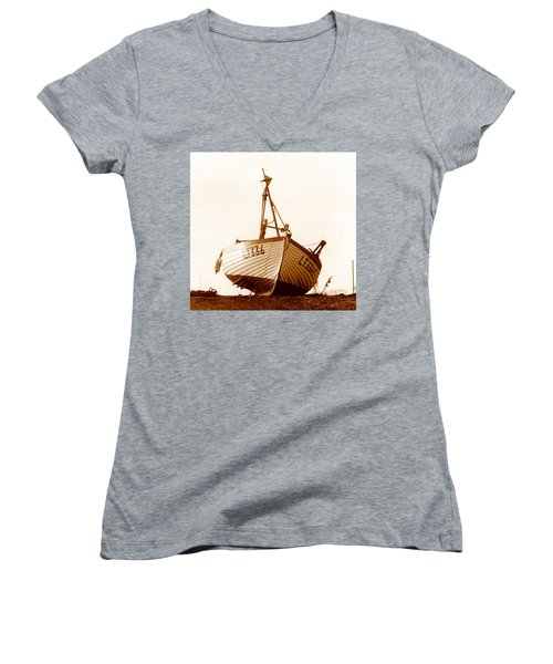 Women's V-Neck T-Shirt (Junior Cut) featuring the photograph Fishing Boat by Peter Mooyman