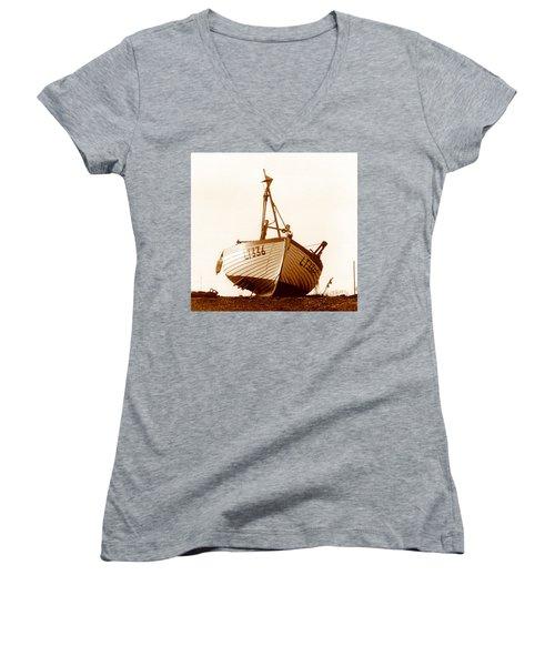 Fishing Boat Women's V-Neck T-Shirt (Junior Cut) by Peter Mooyman