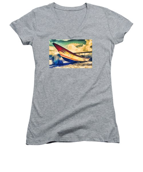 Fishing Boat Women's V-Neck (Athletic Fit)