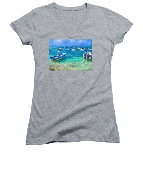 Fishing Boats Women's V-Neck T-Shirt
