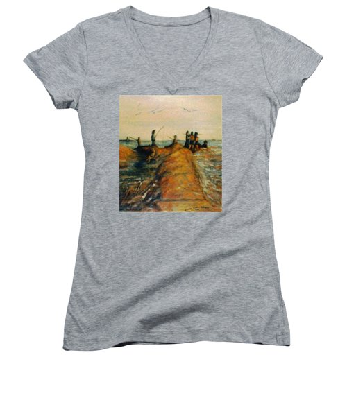 Fishing Near New Haven Women's V-Neck T-Shirt