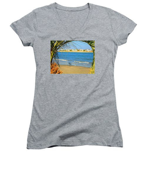 Fishing Paradise At The Beach By Jan Marvin Studios Women's V-Neck T-Shirt