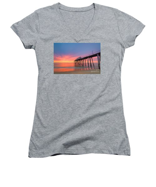 Fishing Pier Sunrise Women's V-Neck T-Shirt (Junior Cut)