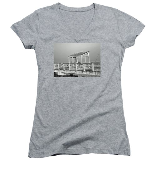 Women's V-Neck T-Shirt (Junior Cut) featuring the photograph Fishing Pier by Tikvah's Hope