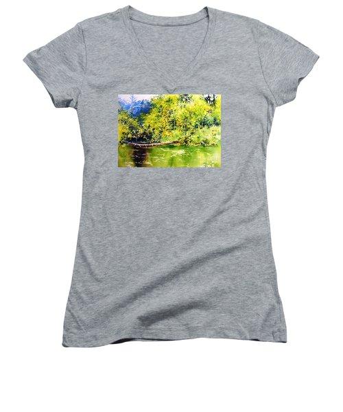Fishing Pond Women's V-Neck (Athletic Fit)
