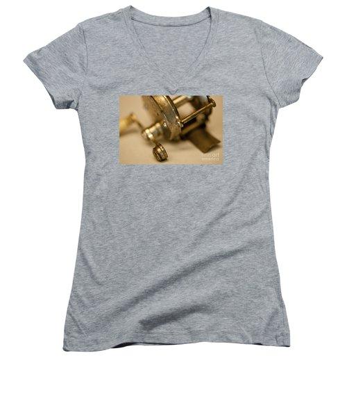 Fishing Reel  Women's V-Neck T-Shirt (Junior Cut) by Wilma  Birdwell