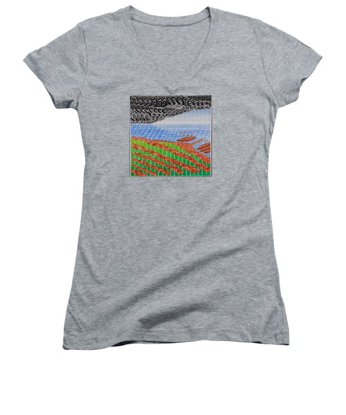 Fishing Shack Town Women's V-Neck T-Shirt