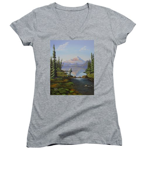 Women's V-Neck T-Shirt (Junior Cut) featuring the painting Fishing The High Lakes by Richard Faulkner