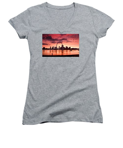 Fishing The Mississippi In St Louis Women's V-Neck (Athletic Fit)