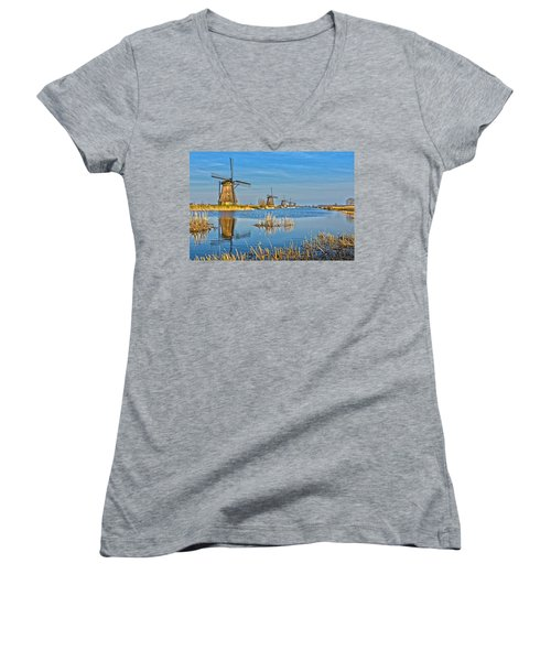 Five Windmills At Kinderdijk Women's V-Neck T-Shirt