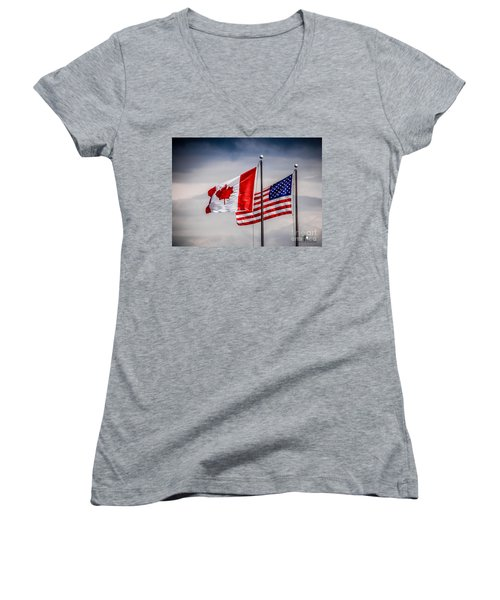 Flag Duo Women's V-Neck (Athletic Fit)