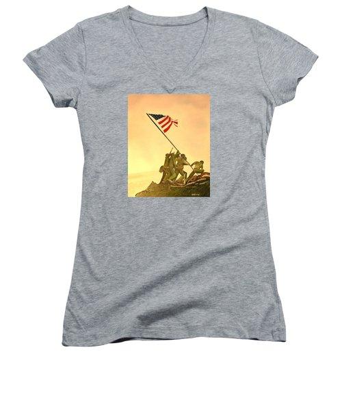 Flag Raising At Iwo Jima Women's V-Neck T-Shirt