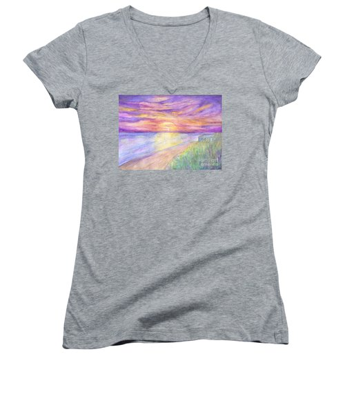 Flagler Beach Sunrise Women's V-Neck (Athletic Fit)