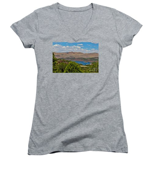 Women's V-Neck T-Shirt (Junior Cut) featuring the photograph Flaming Gorge by Janice Rae Pariza