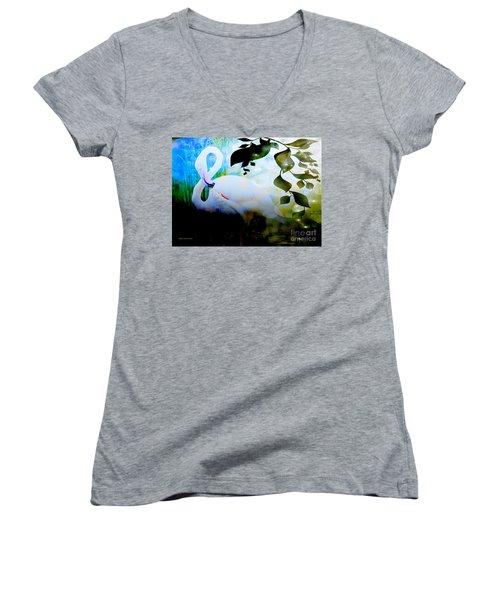 Flamingo Women's V-Neck T-Shirt (Junior Cut)