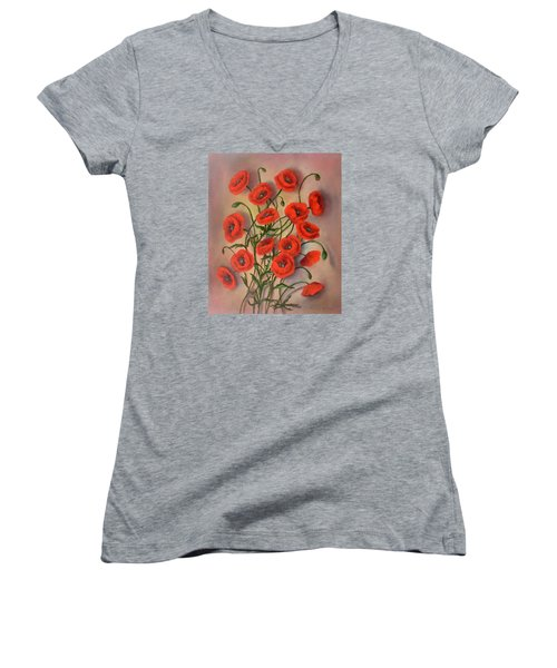 Flander's Poppies Women's V-Neck T-Shirt (Junior Cut)