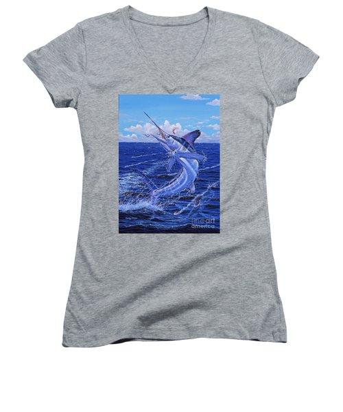 Flat Line Off0077 Women's V-Neck T-Shirt (Junior Cut)