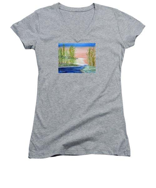 Flathead Lake Sunset Women's V-Neck T-Shirt