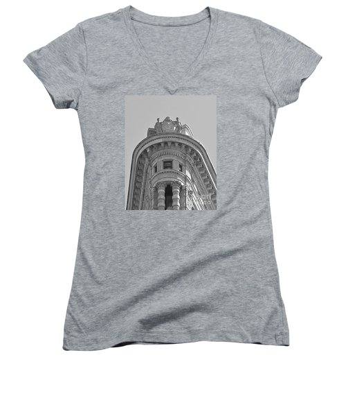Flatiron Detail Women's V-Neck T-Shirt (Junior Cut) by John Wartman