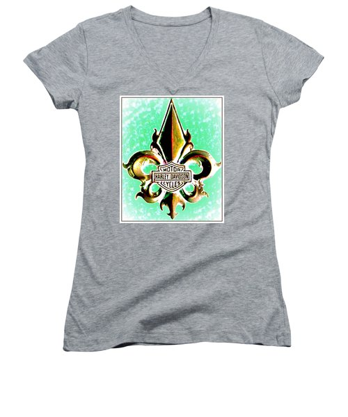 Fleurs De Lys And Harley Davidson Logo Bronze Green Women's V-Neck T-Shirt (Junior Cut) by Danielle  Parent