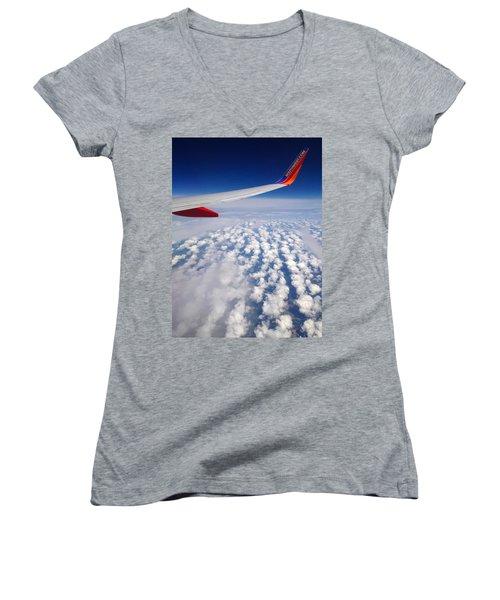 Flight Home Women's V-Neck T-Shirt (Junior Cut) by Debra Martz