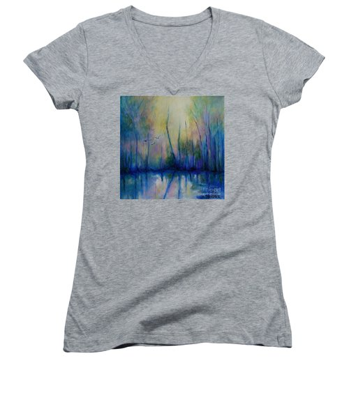 Women's V-Neck T-Shirt (Junior Cut) featuring the painting Flight In Morning Symphony by Alison Caltrider