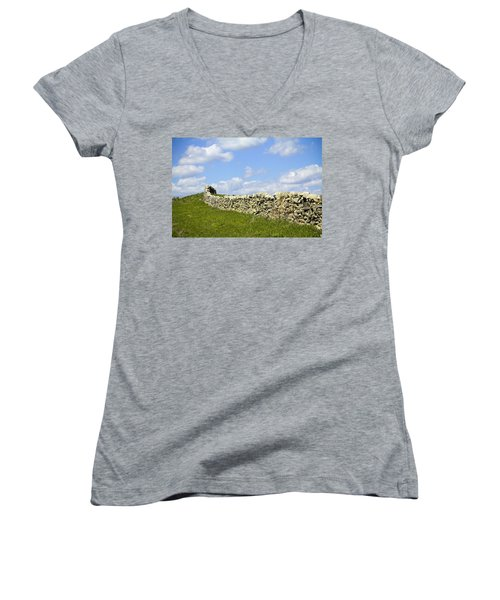 Women's V-Neck T-Shirt (Junior Cut) featuring the photograph Flint Hills Rock Fence by Steven Bateson