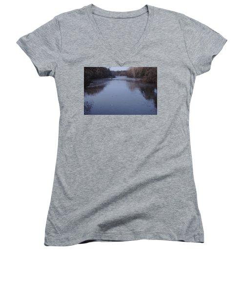 Women's V-Neck T-Shirt (Junior Cut) featuring the photograph Flint River 1 by Kim Pate