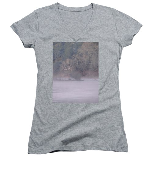 Women's V-Neck T-Shirt (Junior Cut) featuring the pyrography Flint River 10 by Kim Pate