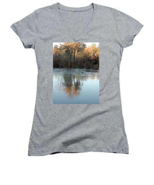 Women's V-Neck T-Shirt (Junior Cut) featuring the photograph Flint River 17 by Kim Pate